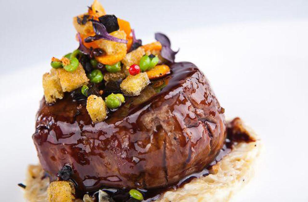 Fillet with balsamic vinegar and vegetable