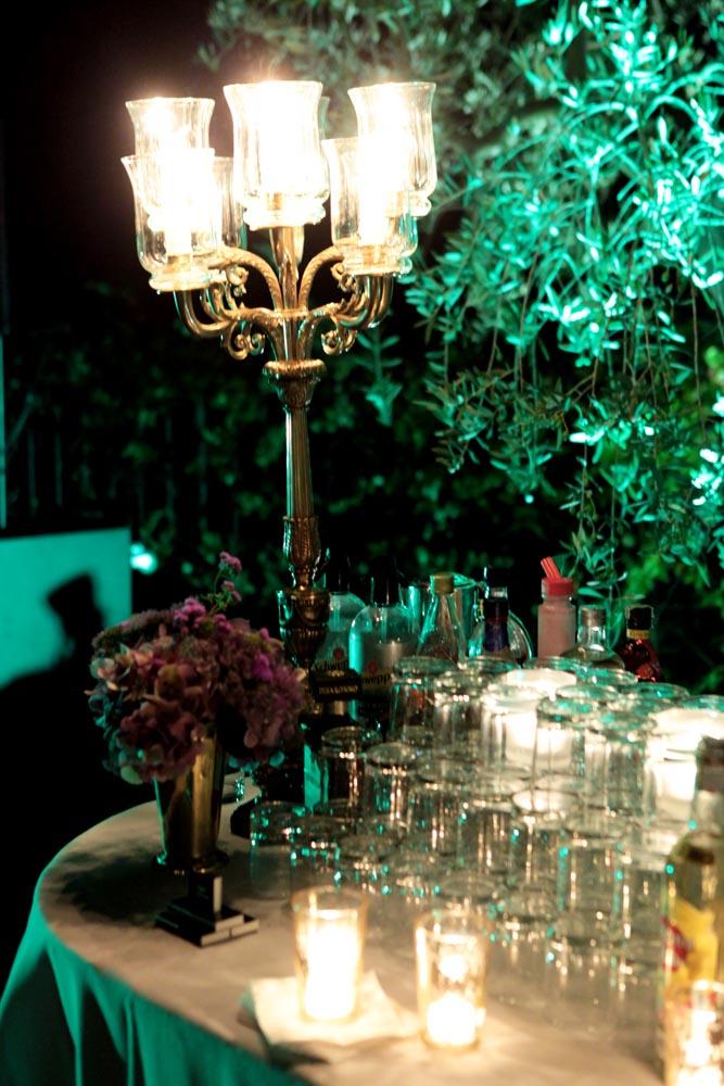 Open bar design for reception event