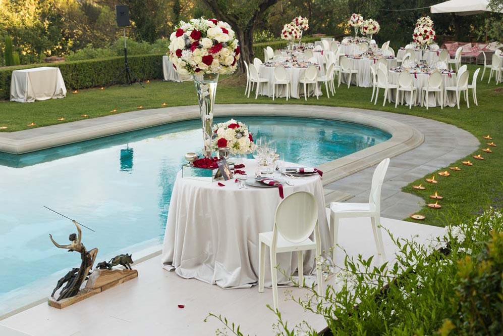 Wedding setting poolside
