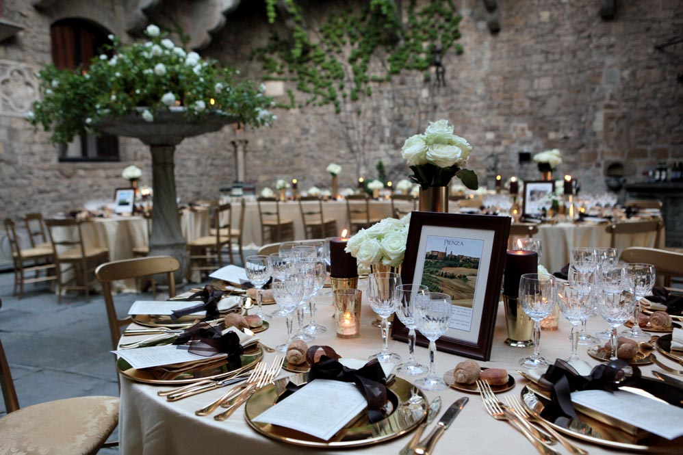 black gold reception settings wedding catering