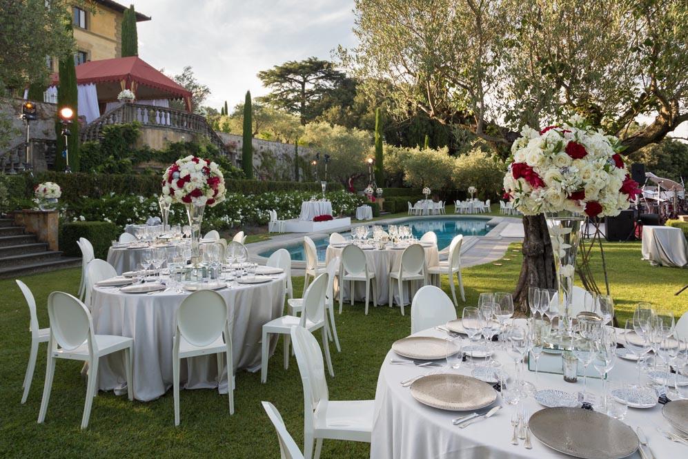 elegant wedding reception setting catering