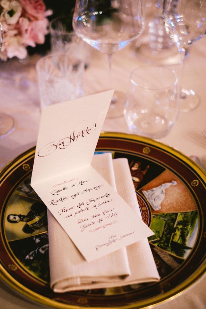 handmade menu for reception table