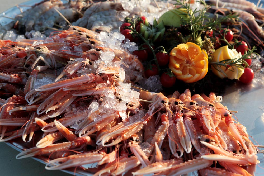 raw crustaceans served in mediterranean style