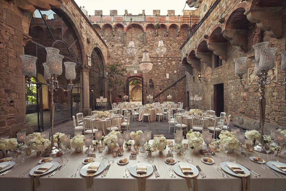 wedding reception setting in a castle