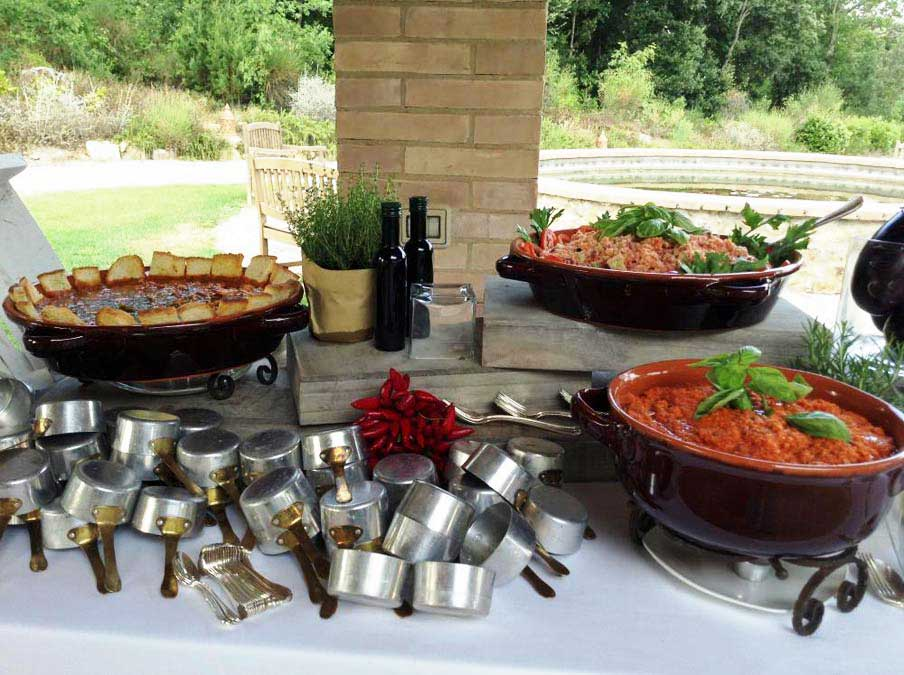 Tuscanbites Traditional foods with fun buffet set-up