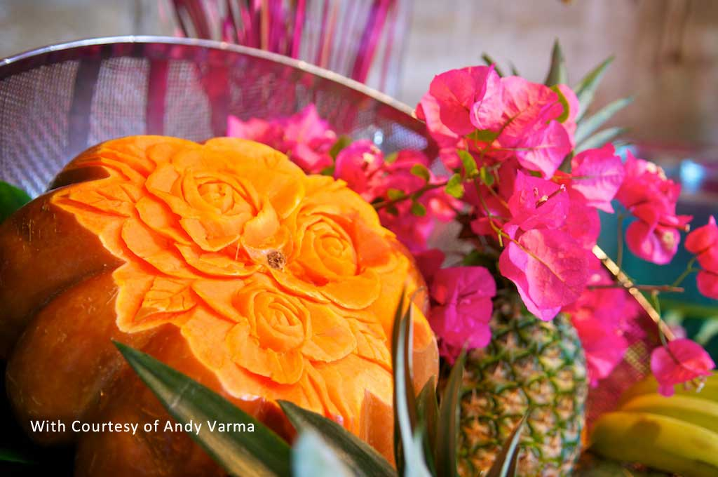 oriental flower and fruit decor